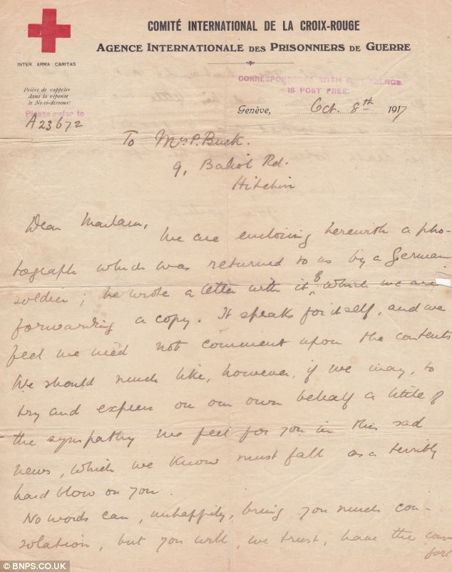 The letter sent by the Red Cross to Bertha Buck along with her husband's photograph
