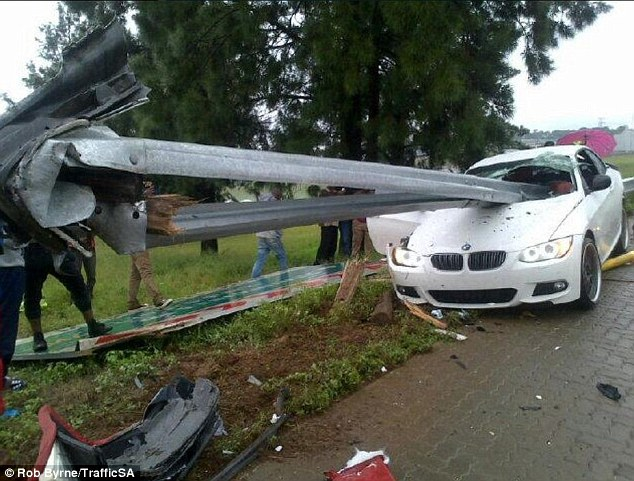 Wreckage: Mahamutsa's car was impaled by a rail guarding the edge of the road he was driving on