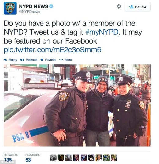 Humble beginnings: The NYPD solicited fans to tweet photos of officers doing good around the city. But the campaign quickly backfired