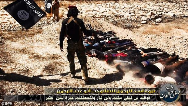 Ruthless: Images of Iraqi men being rounded up at gunpoint, beaten, herded into lorries and shot dead in a ditch in the desert by a row of masked ISIS fanatics sent shockwaves across the world