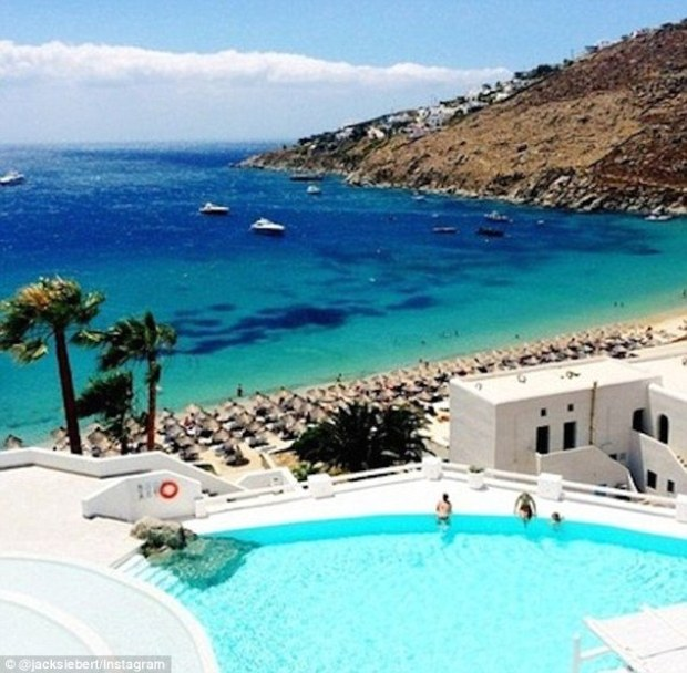 'Mykonos. #yourenothere,' wrote Jack Siebert froma quick escape to Greece