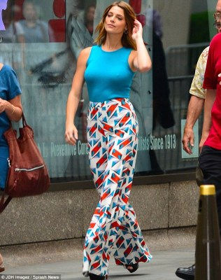 Vivid: Ashley Greene, 27, was seen leaving an appearance on NBC's Today Show in New York on Monday in a dizzying pair of patterned flares