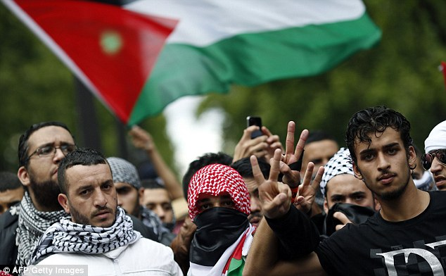 Pro-Palestinian demonstrators were said to have tried to break into two Paris synagogues on Sunday which resulted in six arrests and two Jewish men being injured