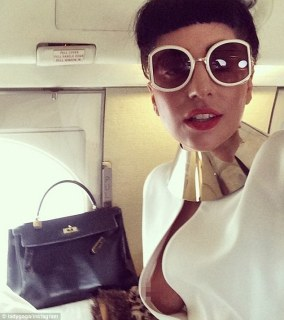 Whoops! Lady Gaga flashed the flesh in a selfie on Friday as she boarded a private flight to Montana