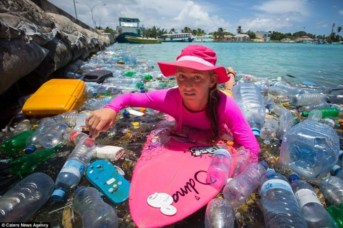 Away from the tourists: Alison has made a documentary about the amount of waste that washes up around the Maldvies