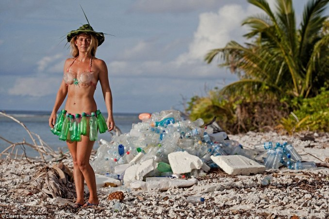 Plastic bikini: Alison is campaigning to have the mountains of waste found on Thilafushi turned into bikinis, jackets and other clothing
