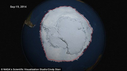 The single-day maximum extent this year was reached on Sept. 20, according to NSIDC data, when the sea ice covered 7.78 million square miles (20.14 million square kilometers).
