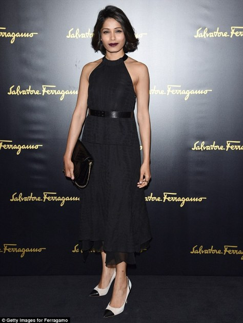 Freida Pinto looked absolutely sublime when she attended the Salvatore Ferragamo show during Milan Fashion Week on Sunday afternoon