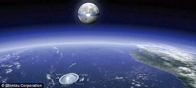 Shimizu Corporation's Luna Ring project would stretch almost 6,790 miles (11,000km) around the moon's equator and a field of solar panels would form a belt