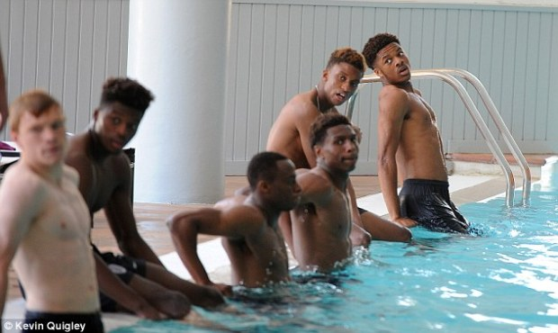 Pictures appeared to show England's players separated by race when they exercised in a swimming pool
