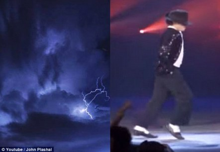 Spooky: The figure in the sky looked like the singer when he was performing his famous dance move (right)