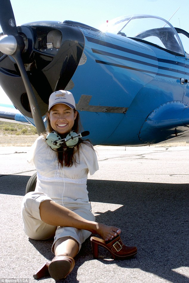 Back on the ground: Jessica showed many people with disabilities that anything is possible when she got her pilot's licence and entered the Guinness Book of World Records in 2008
