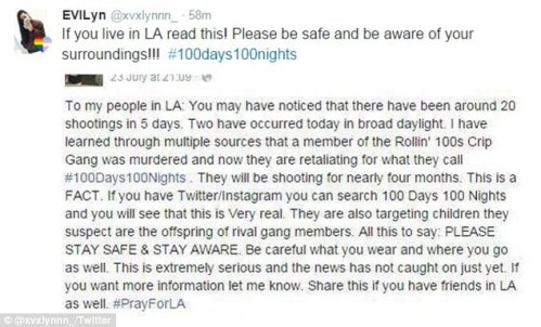 Two Los Angeles gangs have entered into a contest betting on who can kill 100 people in 100 days first (above a woman posts on Instagram about the #100Days100Nights bet)