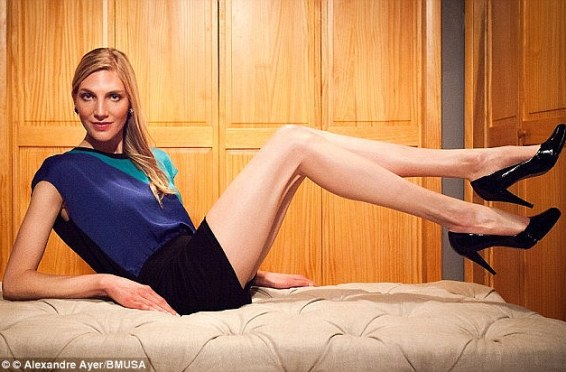 The previous title holder: In 2013, 5ft 11in Brooke Banker, a model from New York, laid claim to having the longest limbs in the Big Apple - her legs measuring 47 inches