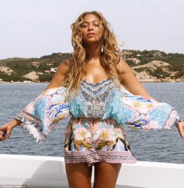Soaking the rays: Stunning pop star Beyonce (pictured), her rapper husband Jay-Z and daughter Blue Ivy were pictured cruising through the Mediterranean last week