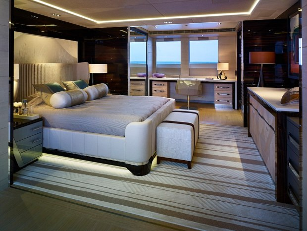 Utter luxury: The master cabin, VIP cabin (pictured) and four guest cabins can comfortably house 12 people on board the extravagant yacht