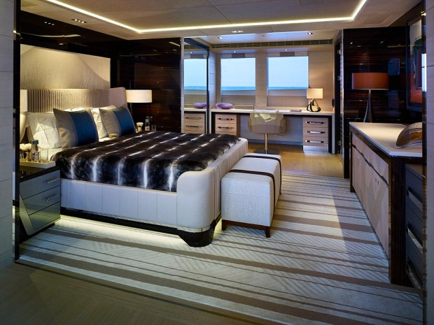 Home on the water: The Galactica's 72-square-metre master cabin (pictured) comes with a private balcony, walk-in wardrobe and spectacular ocean views