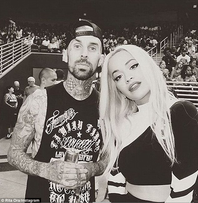 Dating: Rita and Travis are pictured at the Power 106 All-Star Game in Los Angeles, California, last month