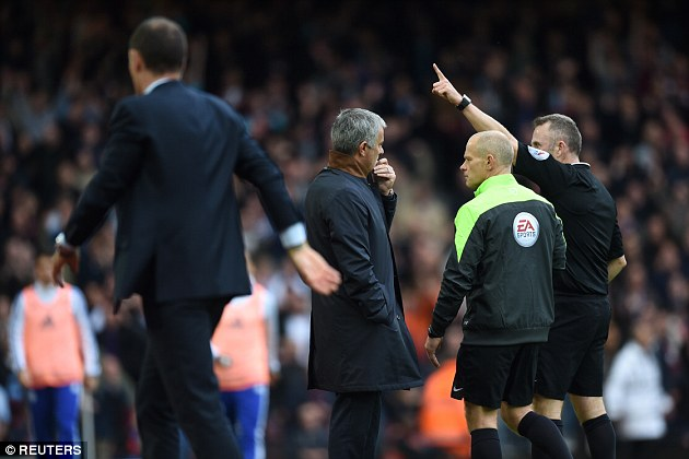 Mourinho was sent to the stands for confronting Moss at half-time during the 2-1 defeat at West Ham