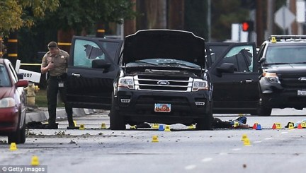 Chesley said the family also doubted the accuracy of information released by the police and FBI. Farook, 28, and Malik, 27, died in a gun battle with police (aftermath, above) after the mass shooting in San Bernardino, California on Wednesday morning