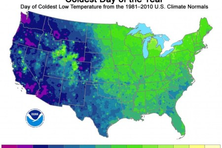 us map reveals the coldest days of the year across the