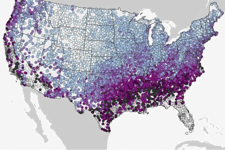 map shows which us states are likely to see snow on