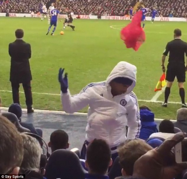 Costa theatrically throws his bib in the direction of Mourinho after ending his warm-up at White Hart Lane