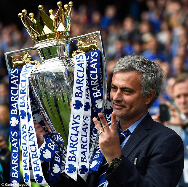 Jose Mourinho celebrated winning the Premier League with Chelsea in May