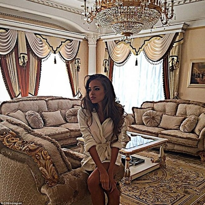 This photograph shows a woman identified on the Instagram account as Kristina Filippova inside a lavishly decorated room