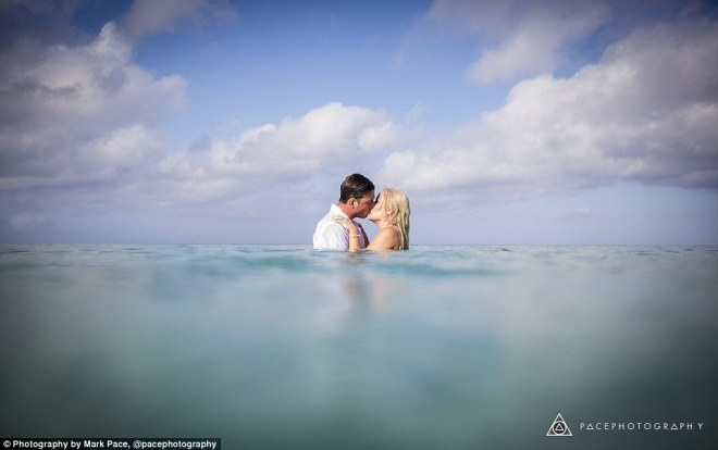 Summer wedding:Over the weekend Casey and Adam Lyall also decided to hit the water to celebrate their newly wed status