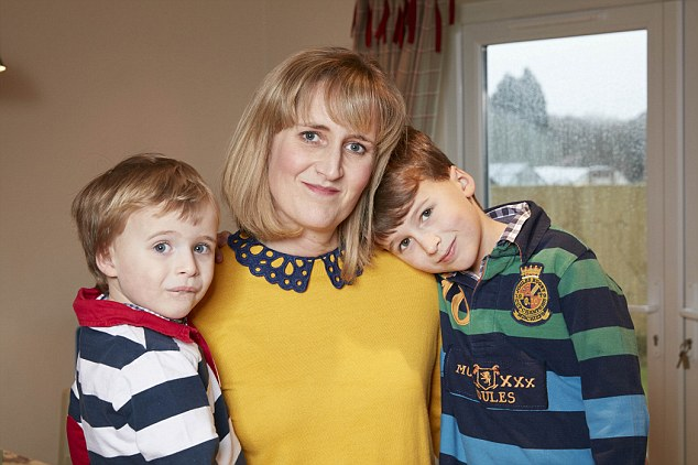 Still grieving: Kate with her two sons at home in Wiltshire. Kate believes it was the stress of having to move at short notice which resulted in her miscarriage
