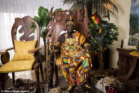 Regal: King Bansah (pictured) leads two very contrasting lives as a part-time monarch and a full-time monarch