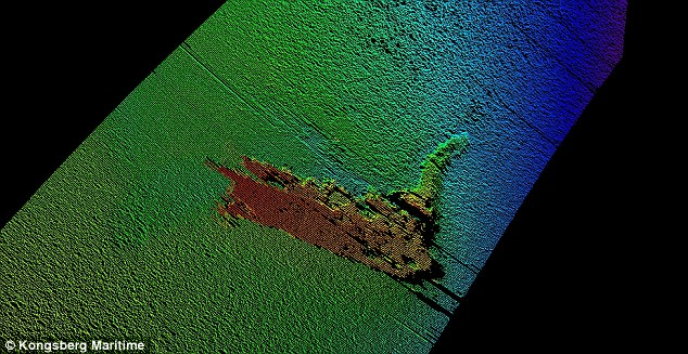 A robotic submarine searching the lake for signs of the phantom Scottish beast may not have found any signs of its fabled lair, but it has come across a long-lost model of the monster. A sonar image is shown