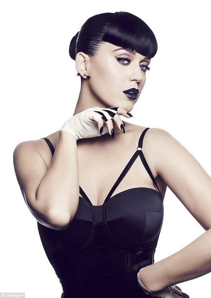 Dark arts: Katy Perry models black lipstick and a sexy corset in her edgy new campaign for the launch of her Katy Kat Collection make-up line for CoverGirl