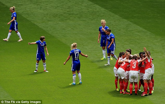 Chelsea players argue after Carter was given too much time to be able to get her shot away for the 1-0 lead