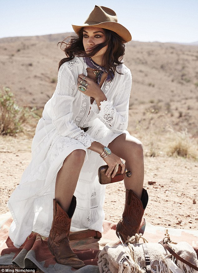 Cowgirl: The model sported a wide brimmed hat and breezy summer dress in another shot