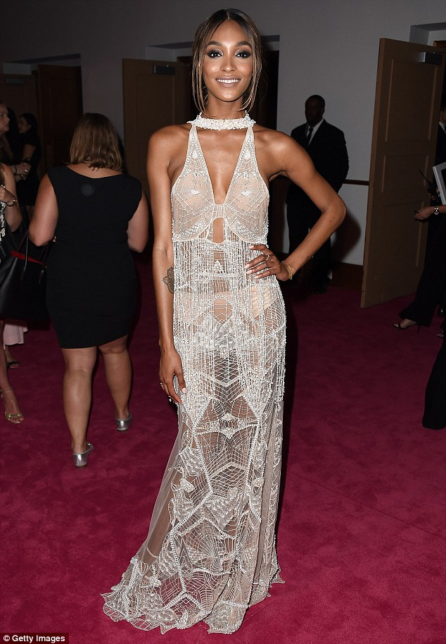 Incredible: Jourdan Dunn showed off her toned figure in a sheer beaded dress by designer Jonathan Simkhai at the CFDA Awards in New York City on Monday