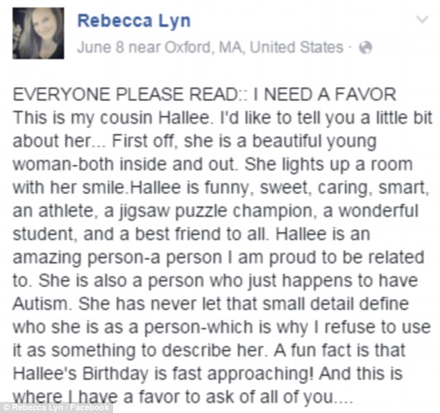 Rescue: Hallee's cousin Rebecca Lyn took to Facebook to make sure this year's birthday was a different story