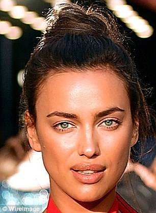 Spot the difference:Irina Shayk proved she can pull off a laid-back look just as well as high-octane glamour as she stepped out make-up free (L) in New York City's West Village on Thursday
