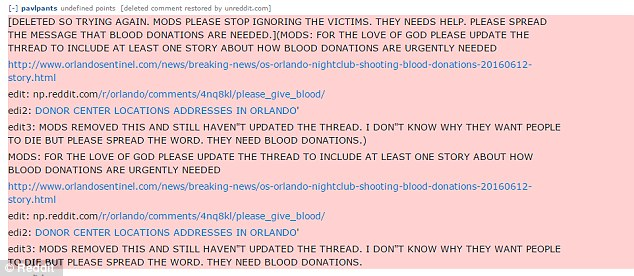 One user said that a post containing information about where to donate blood was deleted in the wake of the attack
