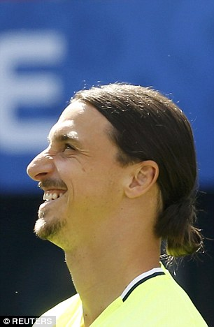 The Swedish icon smiles during training but it will be business as usual against the Red Devils