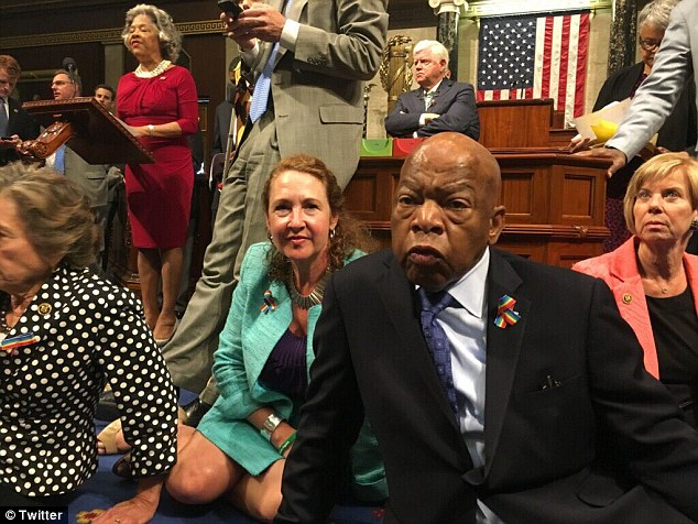 House Democrats, led by Rep. John Lewis (right), gathered in the well of the House chamber today to protest the fact that no gun control measures were being voted on post the Orlando massacre