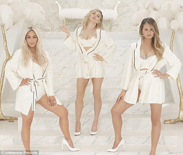 Mom squad: Kardashian and Chrissy Teigen have joined Fergie's very racy mother's club in the video