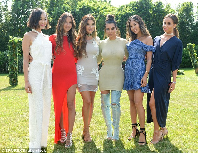 Girls about town: A host of glamorous ladies caught up with Kim for a picture