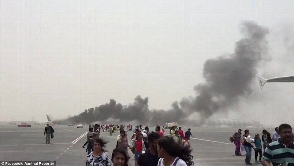 Hundreds of passengers miraculously escaped with their lives this morning when their Emirates jet crash-landed at Dubai airport and exploded