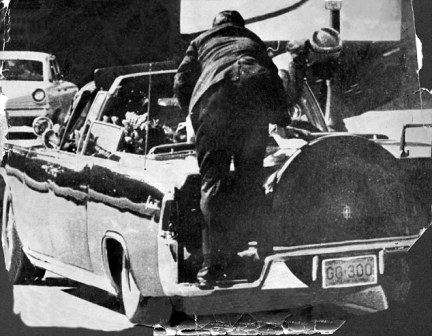 There have been several conspiracy theories debating what actually happened that day - with everyone from the mafia to a mystery man on the Grassy Knoll blamed for the killing (pictured, a secret service agent jumps to the president's aid after a shot is fired)