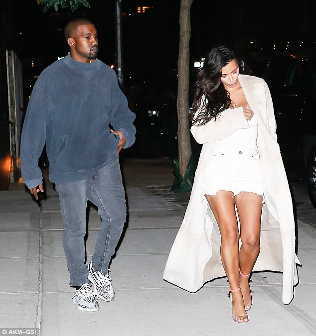 Walk with me Yeezus! Kim and her husband looked in a hurry