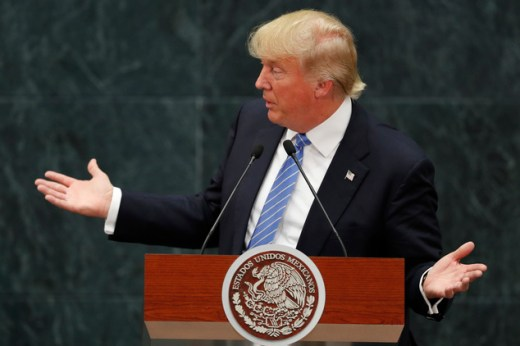 Republican presidential nominee Donald Trump speaks during a joint statement with Mexico's President Enrique Pena Nieto in Mexico City, Wednesday, Aug. 31, 2...