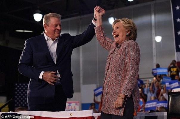 Gore warned during a mid-October Hillary Clinton campaign rally that Trump would send the U.S. careening toward a climate 'catastrophe'