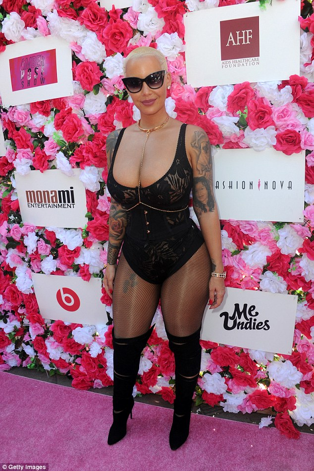 DIY: Amber Rose has revealed the secret behind her beautiful complexion: 'Masturbation'; here she is seen on October 1 in LA